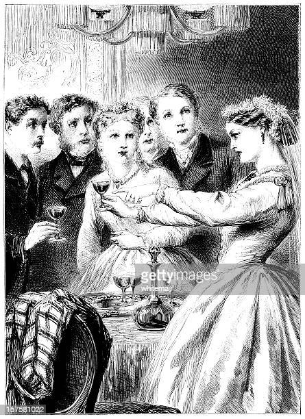 wedding party enjoying a toast (victorian illustration) - sunday best stock illustrations, clip art, cartoons, & icons