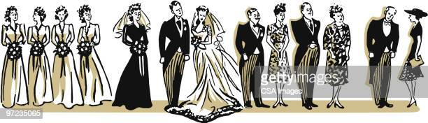 wedding party - receiving stock illustrations