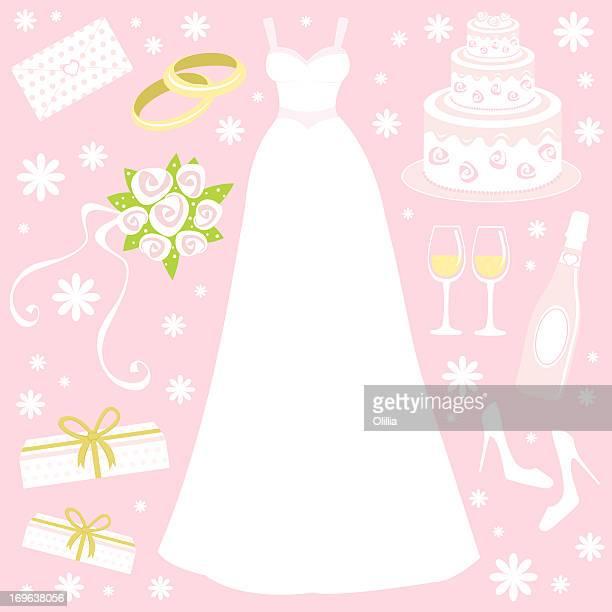 wedding set - wedding cake stock illustrations