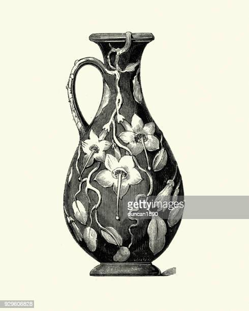 wedgewood jug, vase, floral pattern, mid 19th century - ceramics stock illustrations, clip art, cartoons, & icons