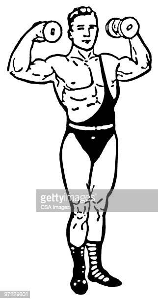 weightlifter - strength stock illustrations