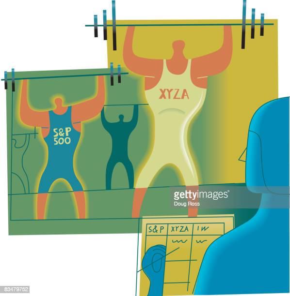 weightlifters symbolizing stock market strengths - 紙テープ点のイラスト素材/クリップアート素材/マンガ素材/アイコン素材