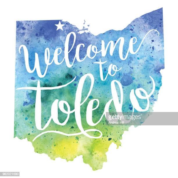 welcome to toledo (ohio) watercolor map - raster illustration - toledo ohio stock illustrations