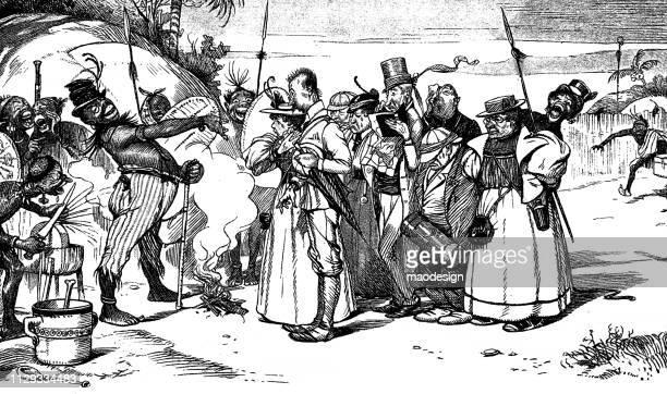 ilustraciones, imágenes clip art, dibujos animados e iconos de stock de acogiendo con beneplácito los europeos nativos africanos - 1896 - masai