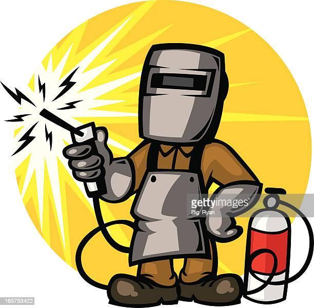 ilustraciones, imágenes clip art, dibujos animados e iconos de stock de soldador guy - soldar