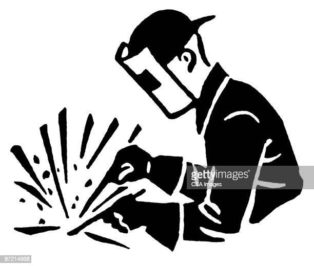 ilustraciones, imágenes clip art, dibujos animados e iconos de stock de welder - soldar