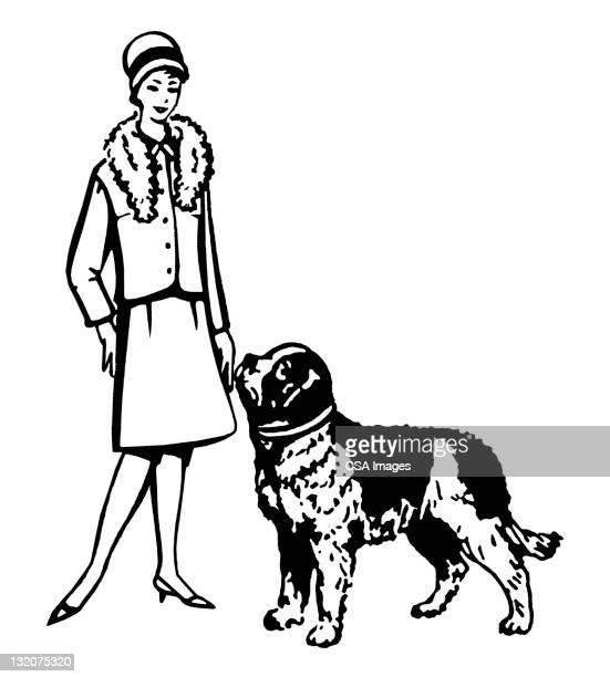 Bien vestido de mujer con perro