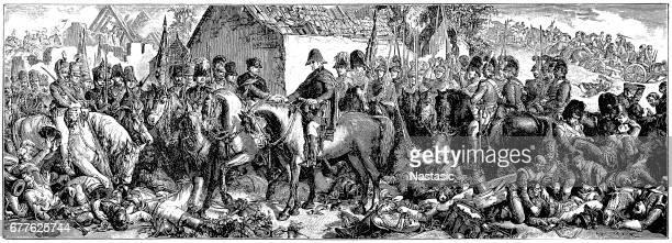 "daniel maclise ""wellington and blucher"" battle waterloo - waterloo belgium stock illustrations"
