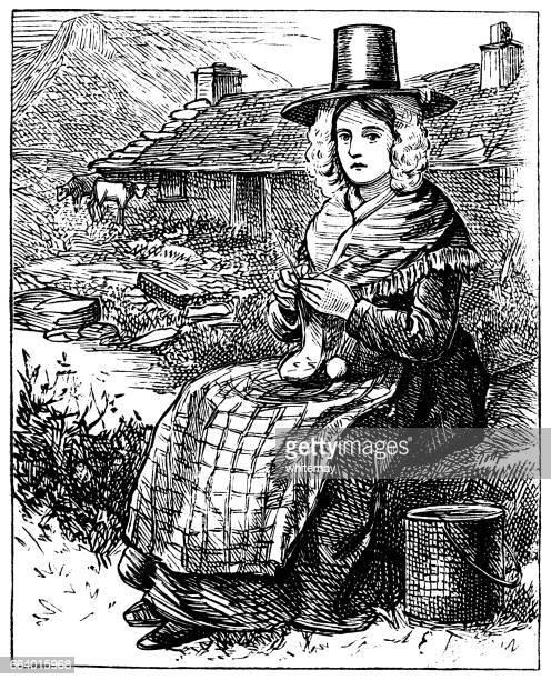 Galés mujer punto fuera de una casa de campo (grabado victoriano)
