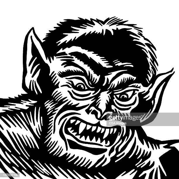 ilustraciones, imágenes clip art, dibujos animados e iconos de stock de hombre lobo - monstruo