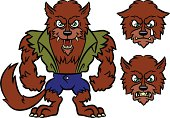 Werewolf Monster Emotions - Happy, Sad, Angry