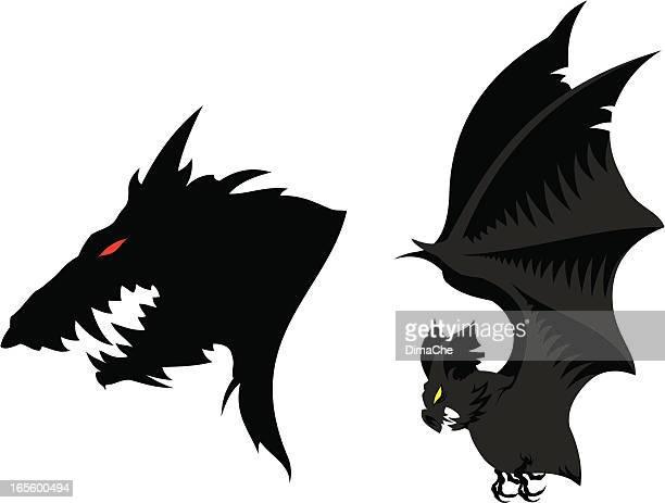 Werewolf`s head and bat