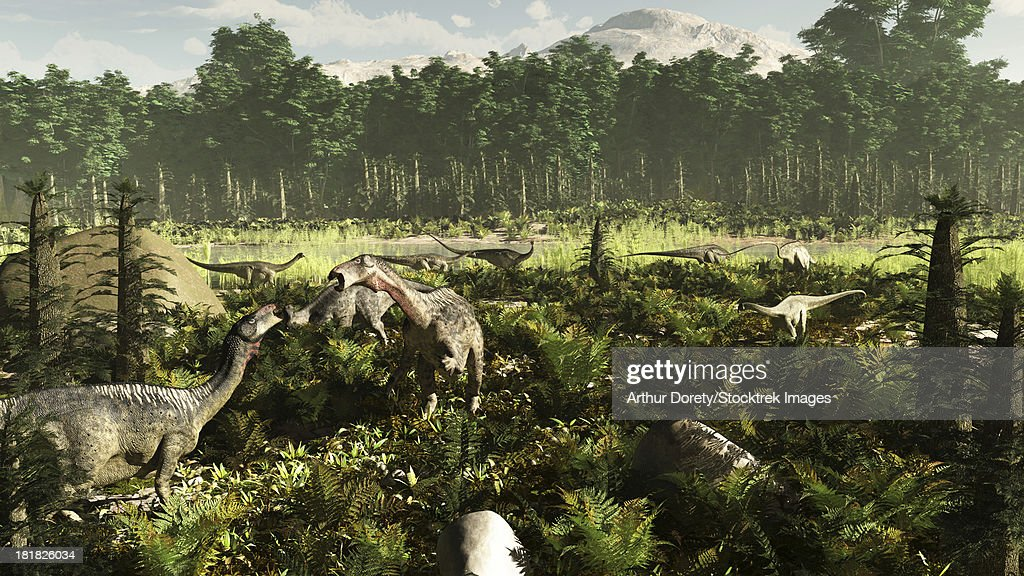 West Africa circa 115 million years ago, featuring Lurdusaurus and Nigersaurus dinosaurs. Also visible is the extinct Tempskya tree fern. : stock illustration