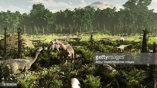 West Africa circa 115 million years ago, featuring Lurdusaurus and Nigersaurus dinosaurs. Also visible is the extinct Tempskya tree fern.