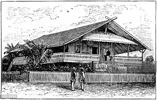 west africa residential house - grass hut stock illustrations