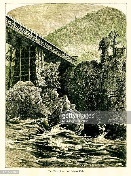 west branch of bellows falls, vermont - connecticut river stock illustrations, clip art, cartoons, & icons