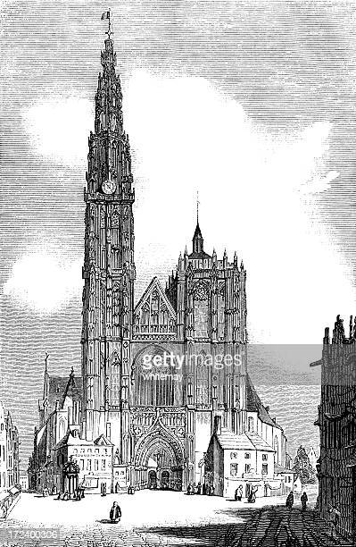west front of antwerp cathedral (victorian woodcut) - spire stock illustrations, clip art, cartoons, & icons