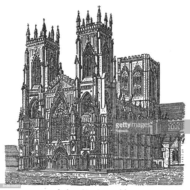 west front of york minster - circa 14th century stock illustrations, clip art, cartoons, & icons