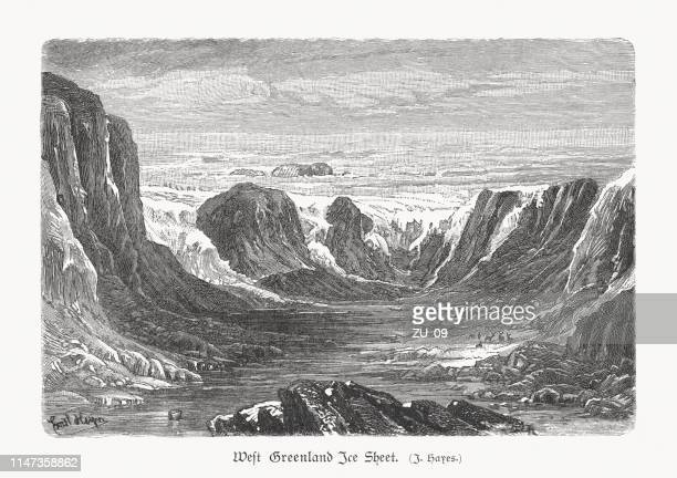 west greenland ice sheet, wood engraving, published in 1897 - savannah stock illustrations, clip art, cartoons, & icons