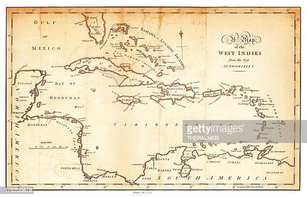 西インド諸島アンティークの地図 1794