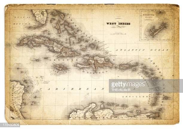 ilustraciones, imágenes clip art, dibujos animados e iconos de stock de mapa antiguo 1852 al estilo de las indias occidentales - antillas occidentales