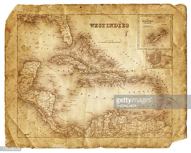 西インド諸島アンティークの地図 1864