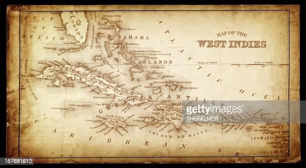 西インド諸島アンティークの地図