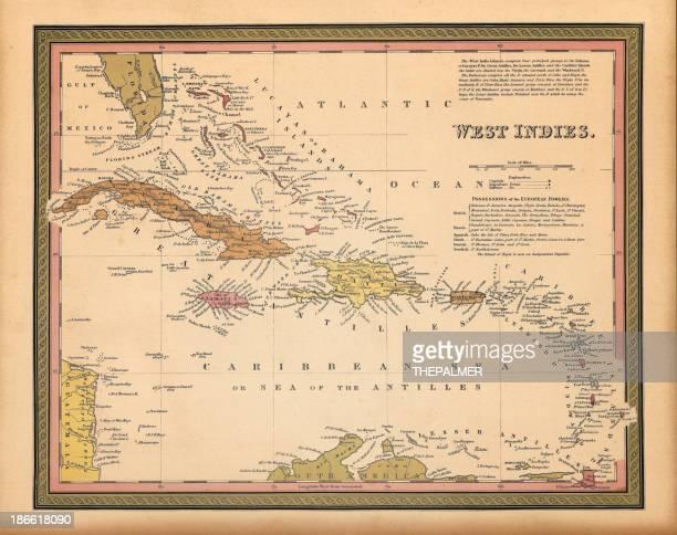 西インド諸島マップ 1849