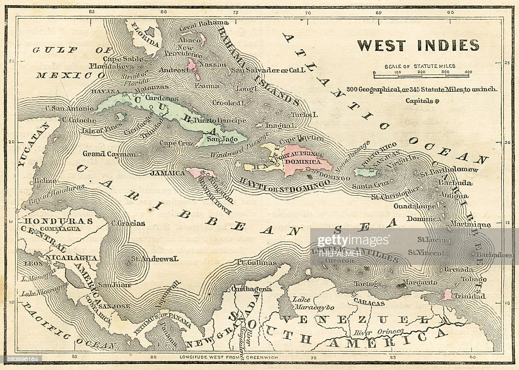 West Indies Map 1856 Stock Illustration