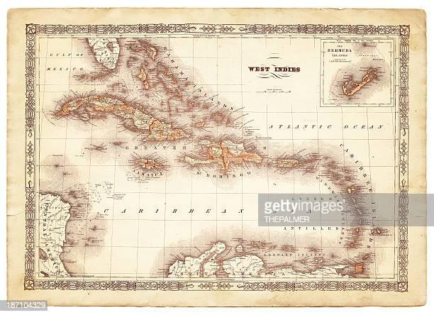 西インド諸島マップ 1864
