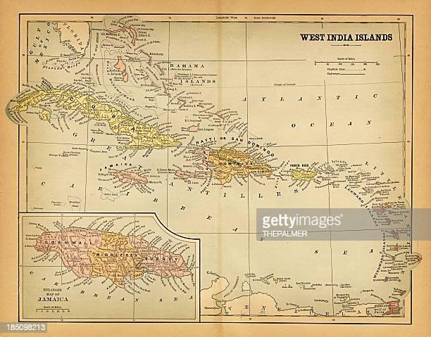 西インド諸島マップ 1883