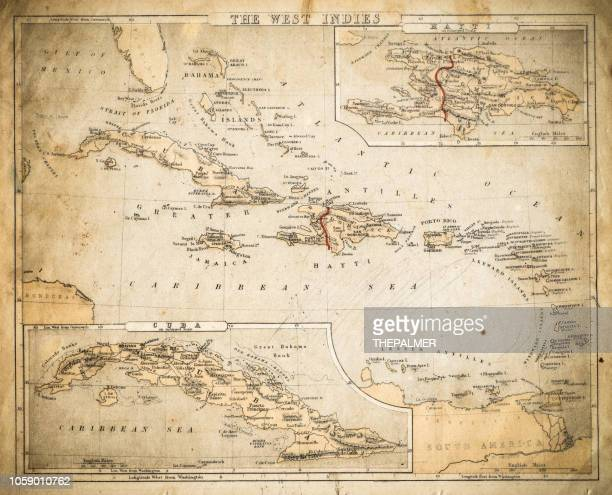 west indies map of 1869 - jamaica stock illustrations, clip art, cartoons, & icons
