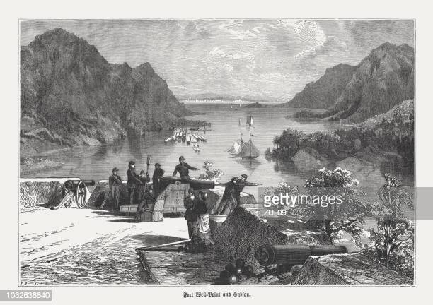 west point and hudson river, new york, usa, published 1876 - west point military academy stock illustrations
