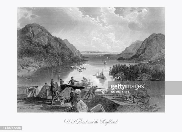 west point and the highlands on the hudson river, new york, united states, american victorian engraving, 1872 - west point military academy stock illustrations