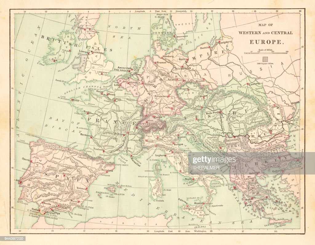Western and Central Europe map 1881 : stock illustration