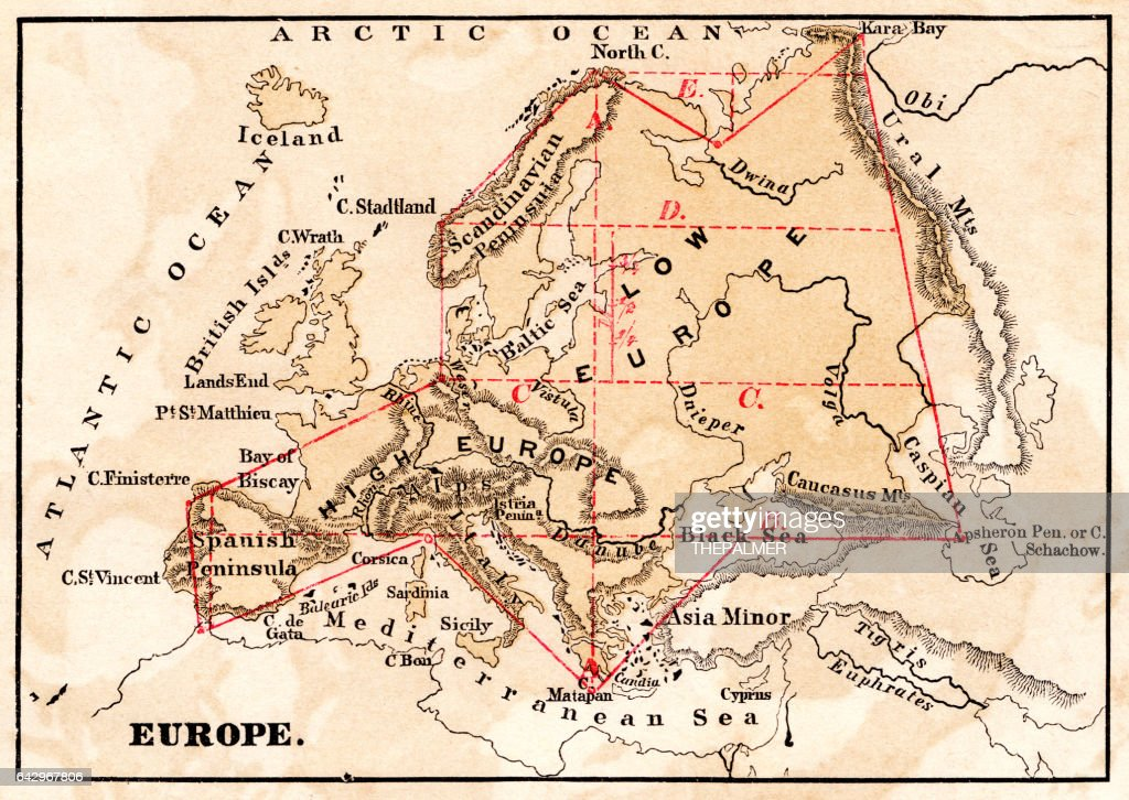 Western Europe Map 1867 Stock Illustration | Getty Images