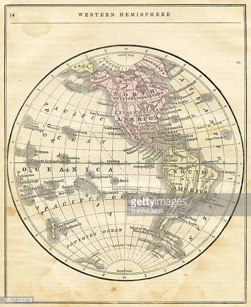 illustrations, cliparts, dessins animés et icônes de western hemisphere map 1856 - hémisphère