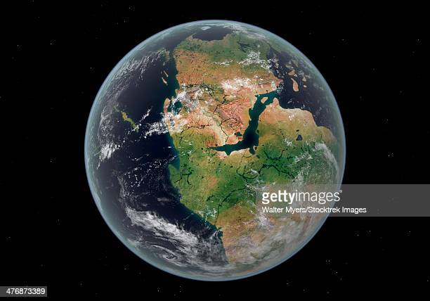 western hemisphere of the earth during the early jurassic period. - jurassic stock illustrations, clip art, cartoons, & icons