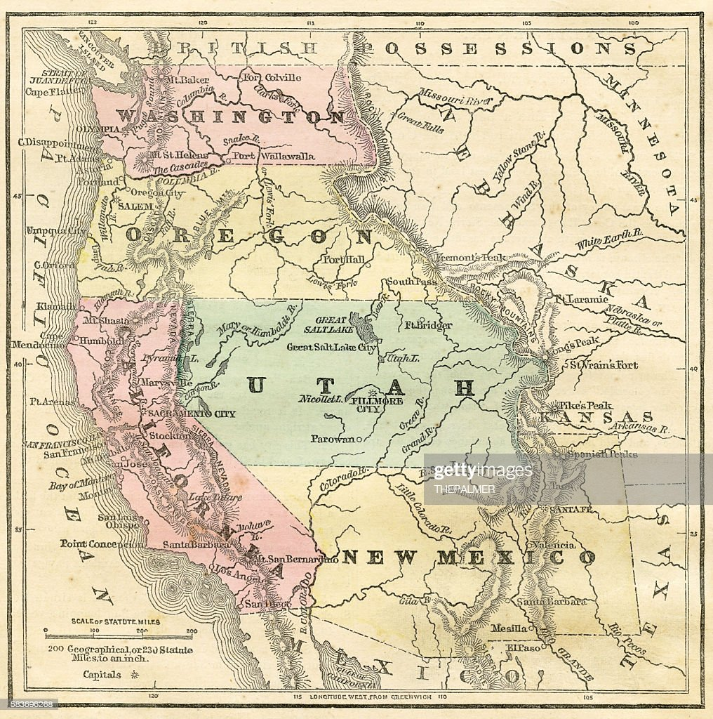 Nw Usa Map.Western Pacific Usa States Map 1856 Stock Illustration Getty Images