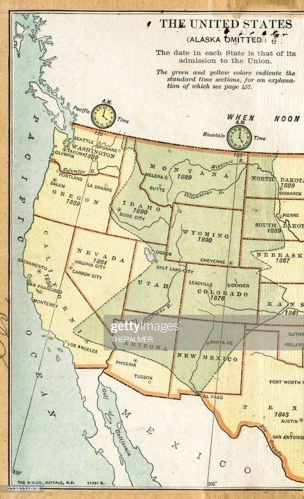USA Western states map 1895 : stock illustration
