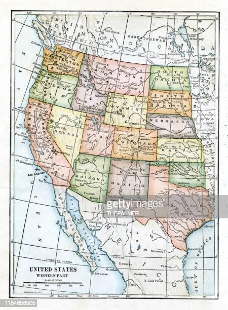 usa western states map 1898 - montana western usa stock illustrations