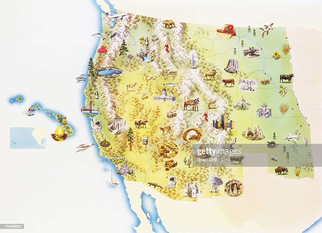 Usa Western States Of America Map Stock Illustration Getty Images - Map of the western us