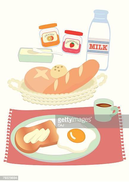 western style breakfast, close-up, illustration - marmalade stock illustrations, clip art, cartoons, & icons
