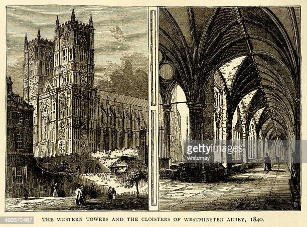 western towers and cloisters of westminster abbey, 1840 - westminster abbey stock illustrations
