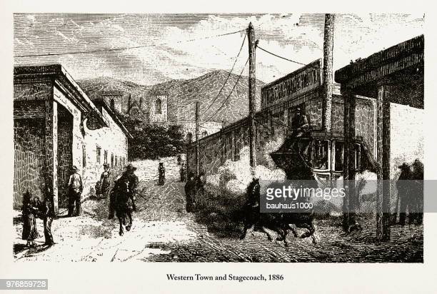 Western Town and Stagecoach, Early American Engraving, 1886