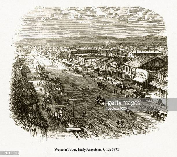 Western Town, Early American Engraving, Circa 1871