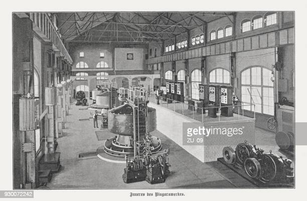 westinghouse generators, hydroelectric power station, niagara falls, usa, published 1898 - industrial revolution stock illustrations