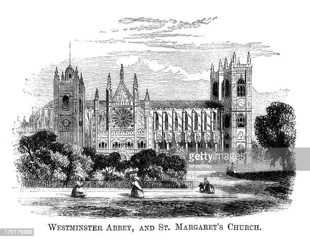 westminster abbey and st margaret's church (1871 engraving) - westminster abbey stock illustrations