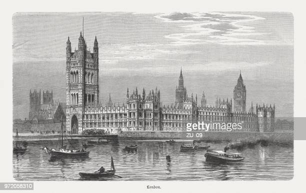 Westminster Palace in London, England, wood engraving, published in 1897
