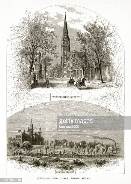 westminster street and the hospital grounds, providence, rhode island, united states, american victorian engraving, 1872 - spire stock illustrations, clip art, cartoons, & icons